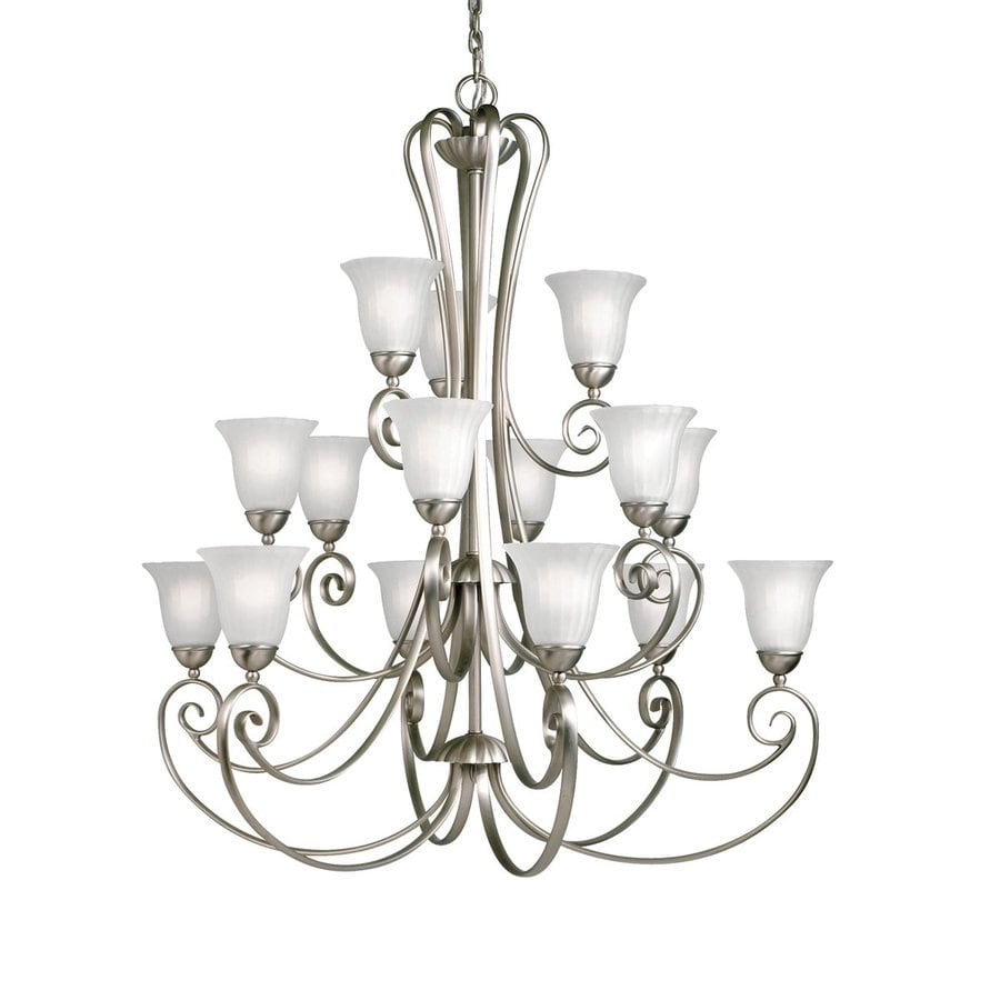 Kichler Lighting Willowmore 42-in 15-Light Brushed Nickel Country Cottage Etched Glass Tiered Chandelier