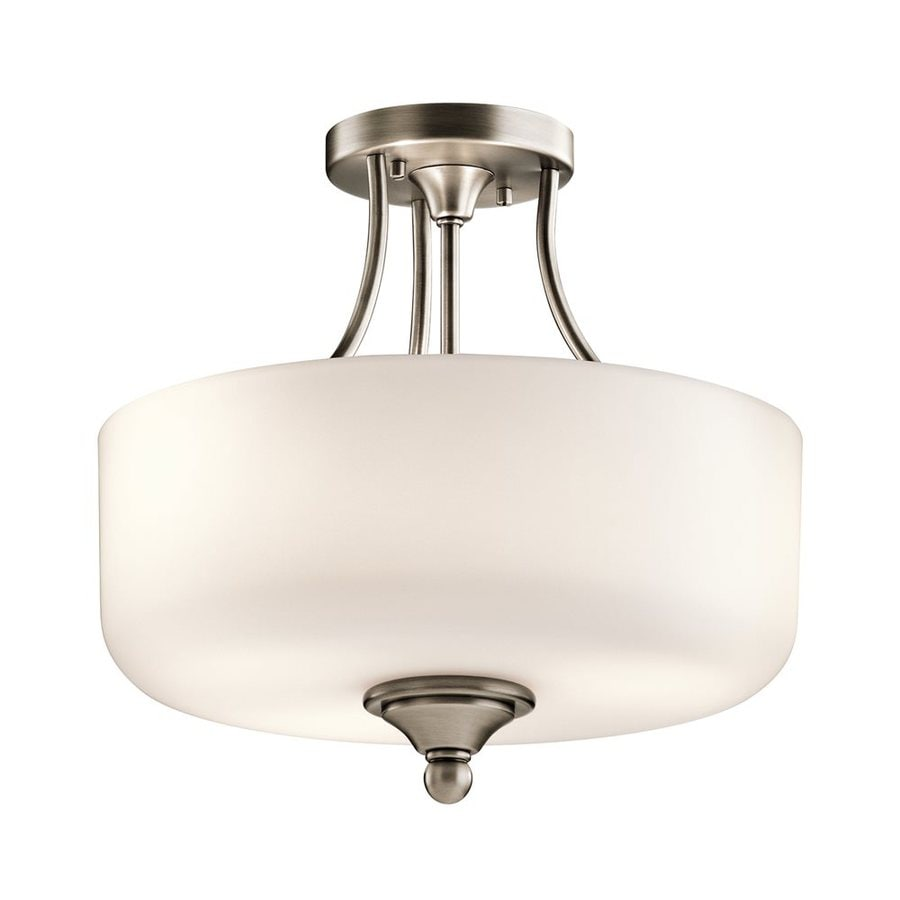 Kichler Lilah 14-in W Antique Pewter Etched Glass Semi-Flush Mount Light