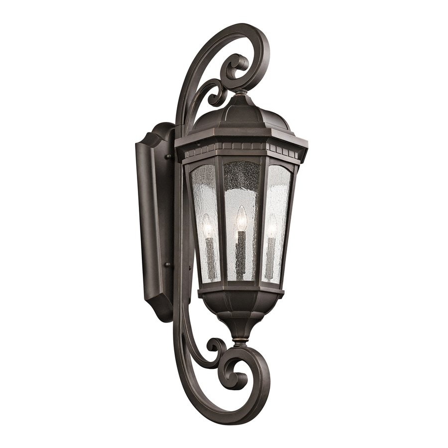 Kichler Courtyard 46.75-in H Rubbed Bronze Outdoor Wall Light