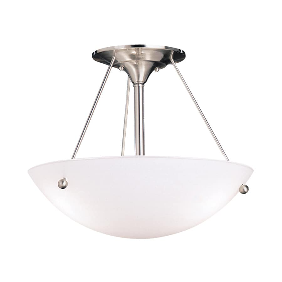 Kichler Lighting Family Space 17.5-in W Brushed Nickel Etched Glass Semi-Flush Mount Light