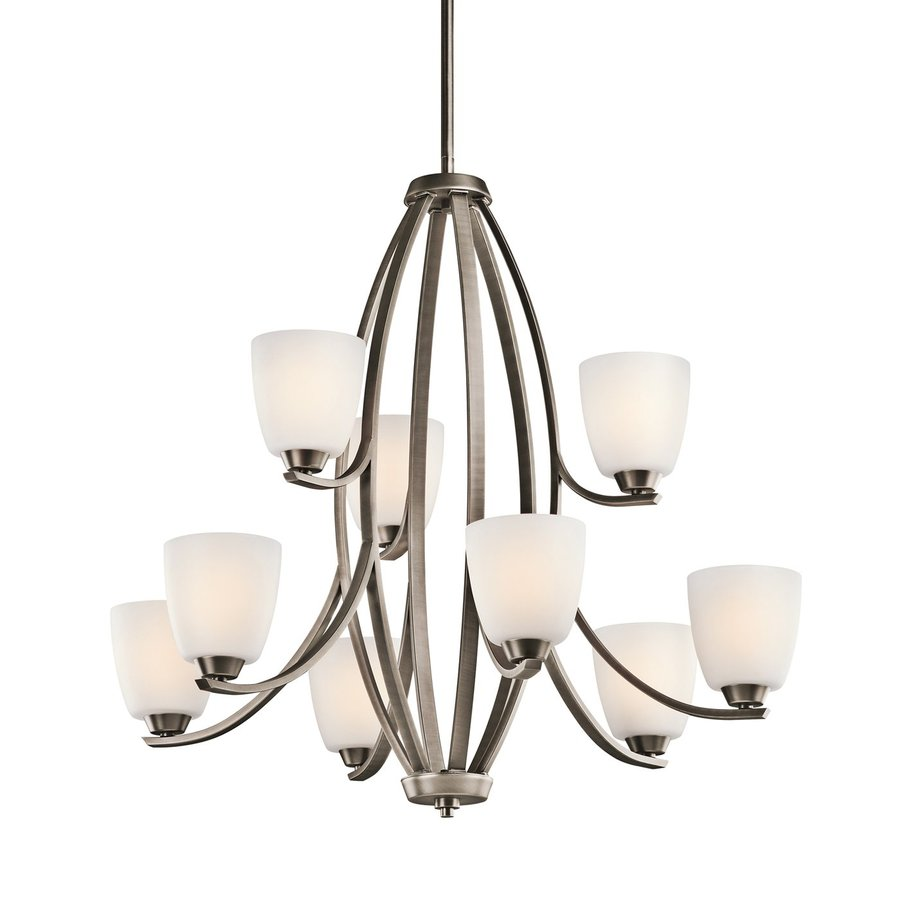 Kichler Lighting Granby 33.25-in 9-Light Brushed Pewter Etched Glass Tiered Chandelier