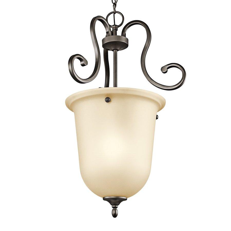 Kichler Lighting Feville 16-in Olde Bronze Mediterranean Hardwired Single Etched Glass Urn Pendant