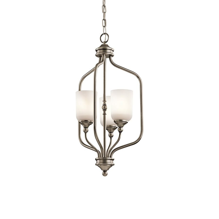Kichler Lilah 14-in Antique Pewter Vintage Hardwired Single Etched Glass Cage Pendant