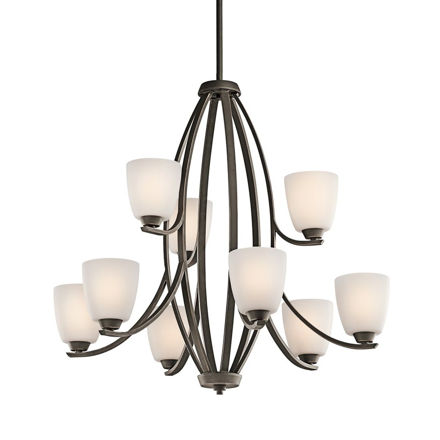 Kichler Lighting Granby 33.25-in 9-Light Olde Bronze Etched Glass Tiered Chandelier
