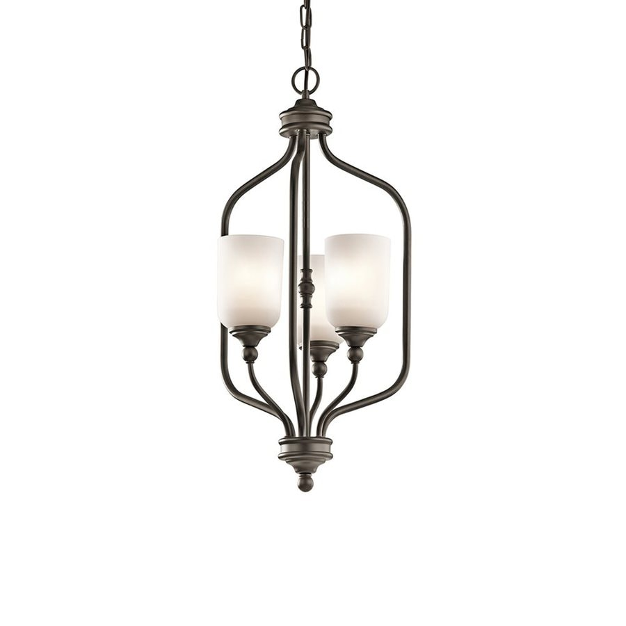 Kichler Lighting Lilah 14-in Olde Bronze Vintage Hardwired Single Etched Glass Cage Pendant