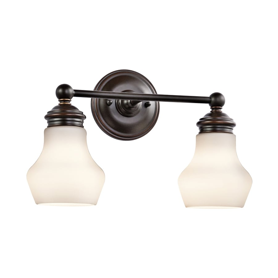Kichler Lighting Currituck 2-Light 10-in Oil-Rubbed Bronze Teardrop Vanity Light