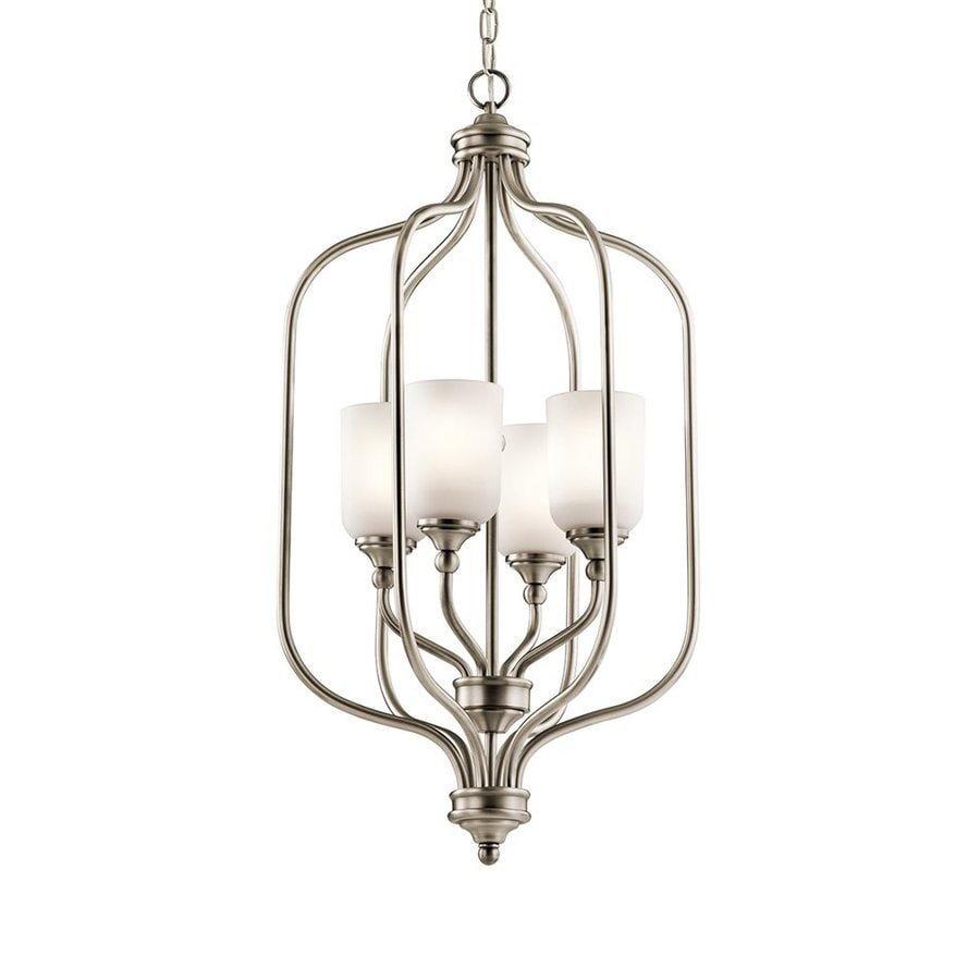 Kichler Lilah 17-in 4-Light Antique Pewter Vintage Etched Glass Cage Chandelier