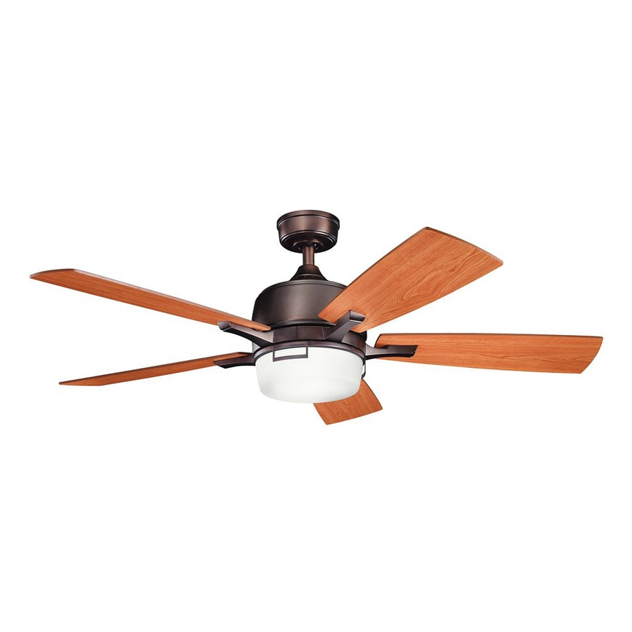 Kichler Leeds 52-in Oil Brushed Bronze Downrod Mount Indoor Residential Ceiling Fan with Light Kit and Remote (5-Blade)