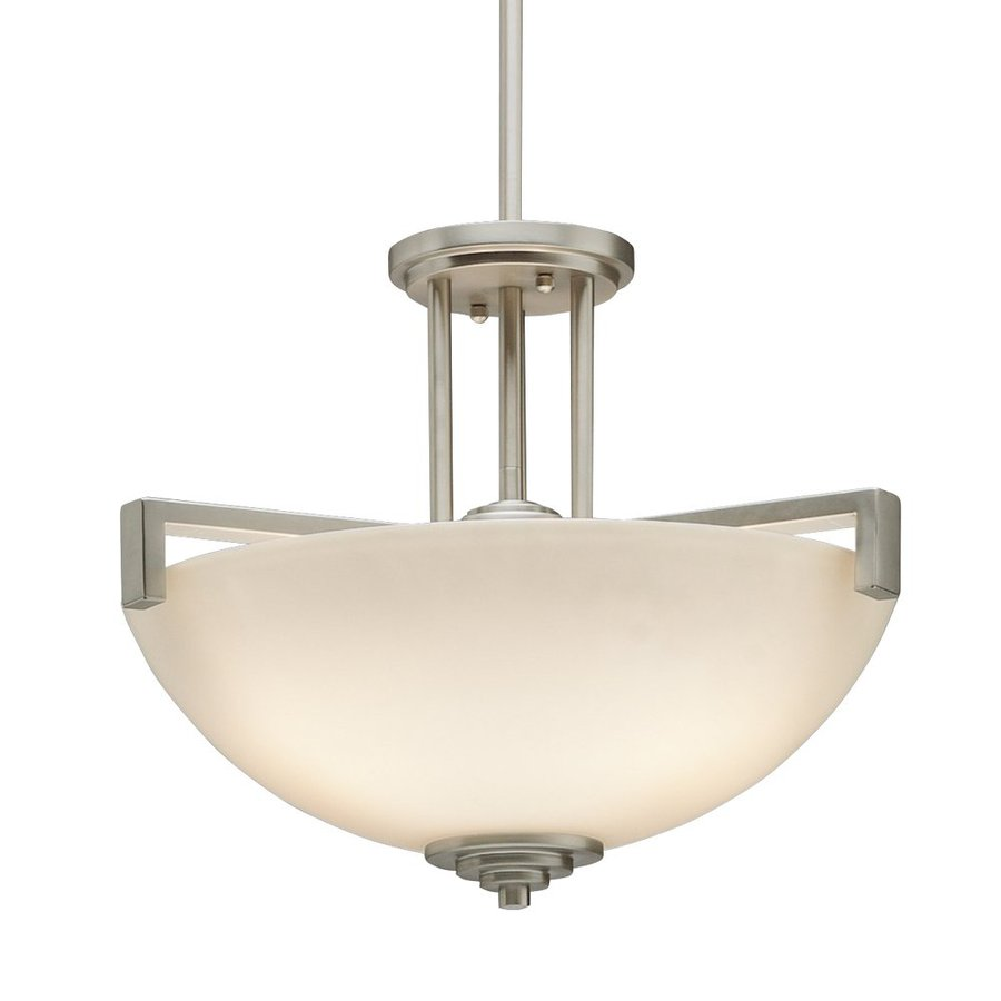 Kichler Lighting Eileen 17.25-in Brushed Nickel Single Etched Glass Bowl Pendant