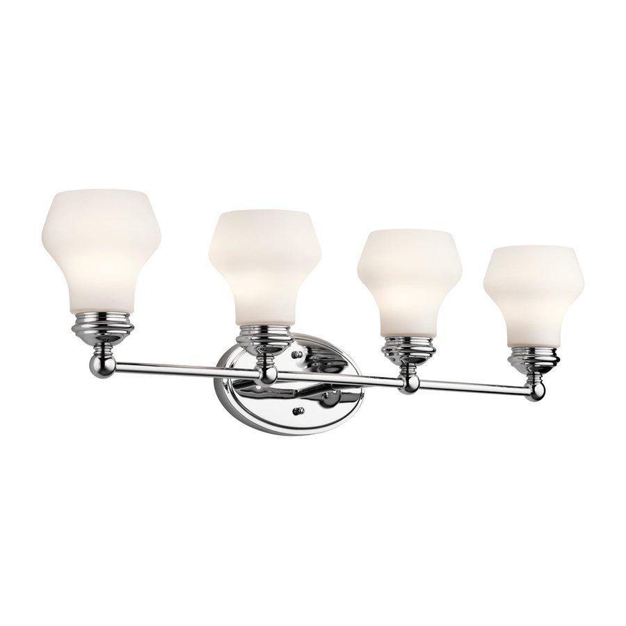 Teardrop Glass Vanity Light : Shop Kichler Currituck 4-Light 10-in Chrome Teardrop Vanity Light at Lowes.com