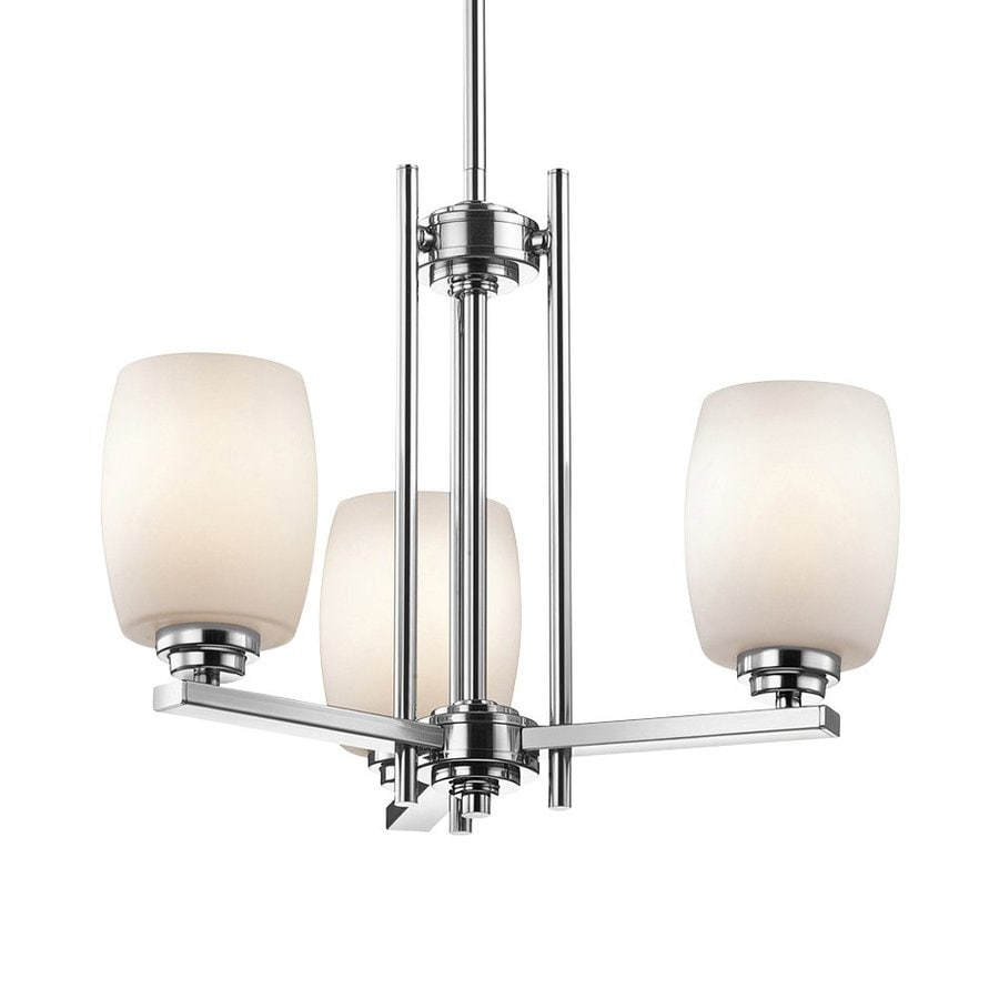 Kichler Eileen 18.5-in 3-Light Chrome Etched Glass Shaded Chandelier