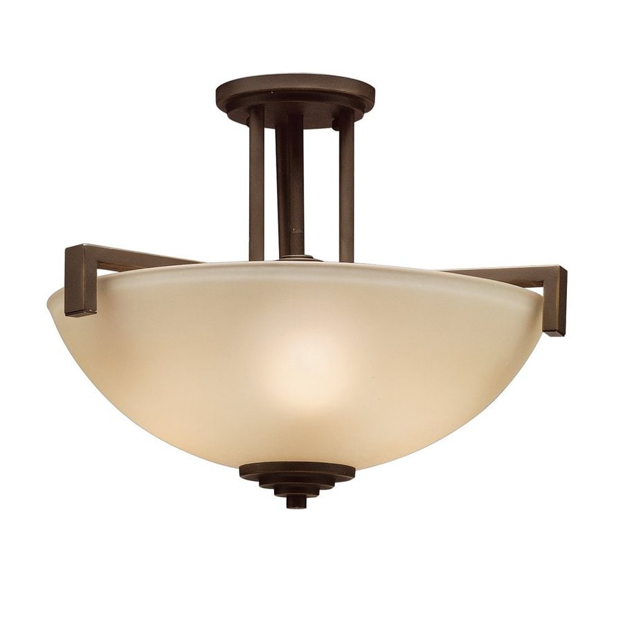 Kichler Lighting Eileen 17.25-in W Olde Bronze Etched Glass Semi-Flush Mount Light