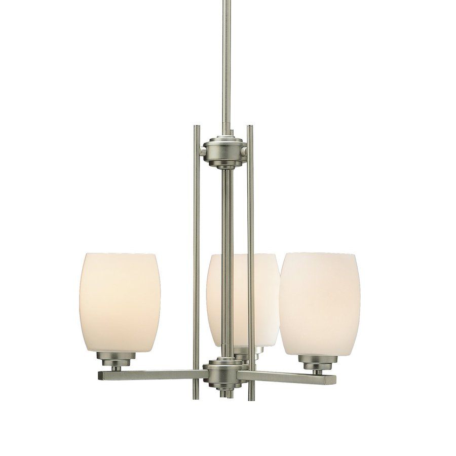 Kichler Eileen 18.5-in 3-Light Brushed Nickel Etched Glass Shaded Chandelier