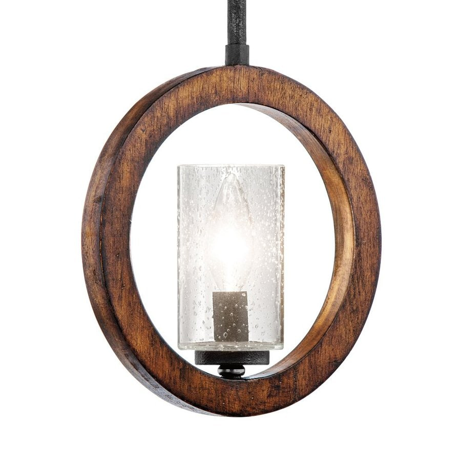 Kichler Lighting Grand Bank 9-in Auburn Stained Wood with Distressed Black Rustic Hardwired Mini Seeded Glass Cylinder Pendant