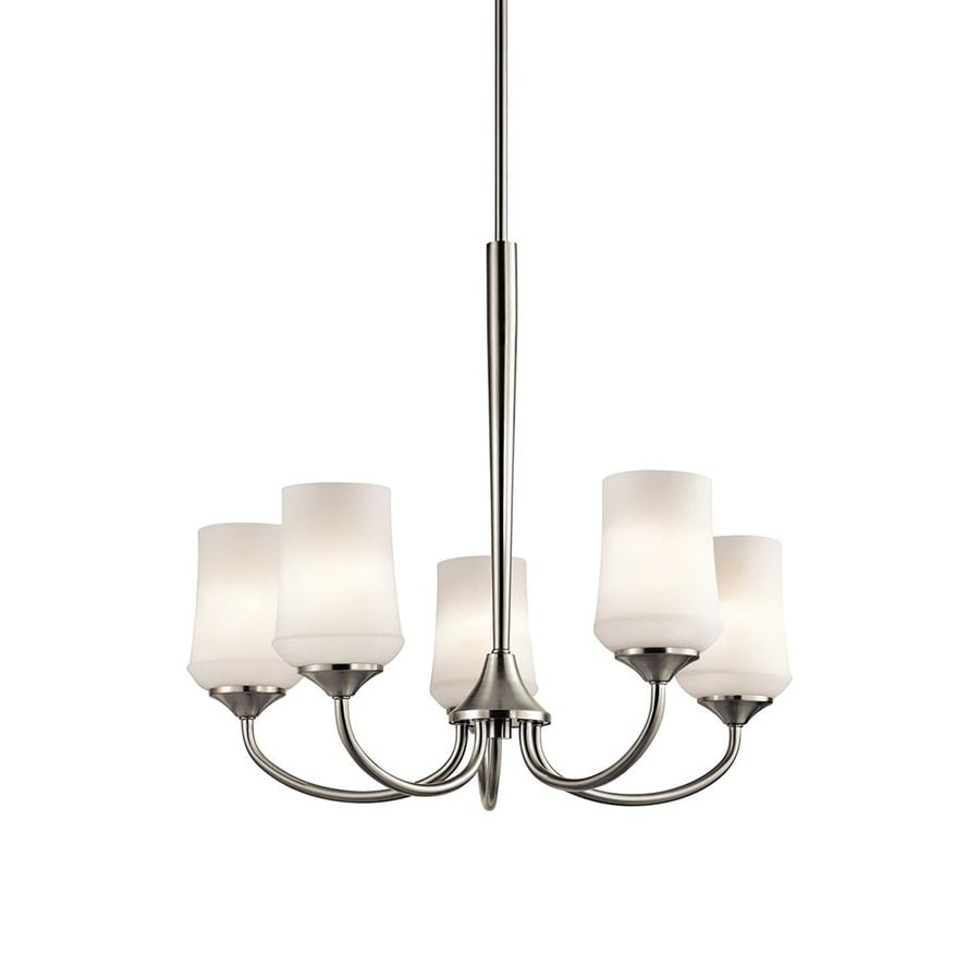 Kichler Lighting Aubrey 25-in 5-Light Brushed Nickel Etched Glass Shaded Chandelier