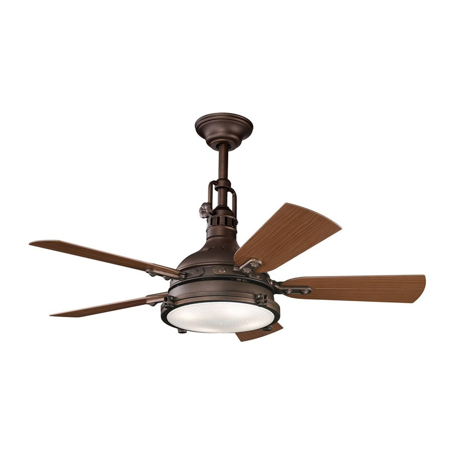 Kichler Lighting Hatteras Bay Patio 44-in Tannery Bronze Downrod or Close Mount Indoor/Outdoor Ceiling Fan with Light Kit and Remote (5-Blade)