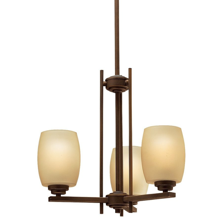 Kichler Eileen 18.5-in 3-Light Olde bronze Craftsman Etched Glass Shaded Chandelier