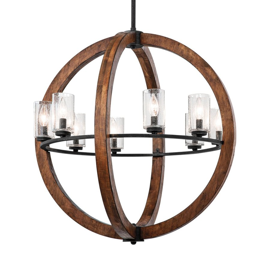 Kichler Grand Bank 28-in 8-Light Auburn Stained Wood with Distressed Black Rustic Hardwired Seeded Glass Globe Chandelier