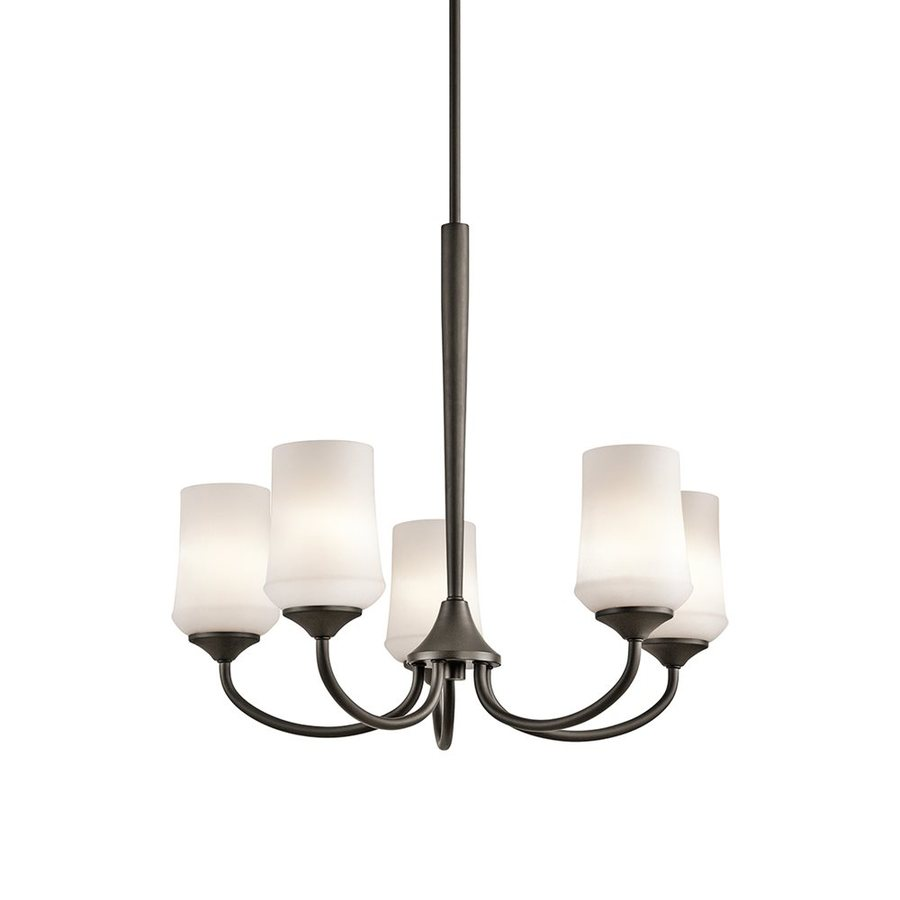 Kichler Aubrey 25-in 5-Light Olde Bronze Etched Glass Shaded Chandelier