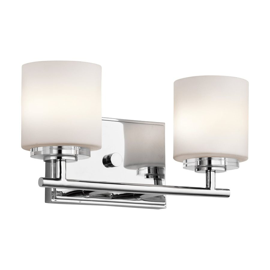 Shop kichler o hara 2 light chrome cylinder vanity for Bathroom 2 light fixtures