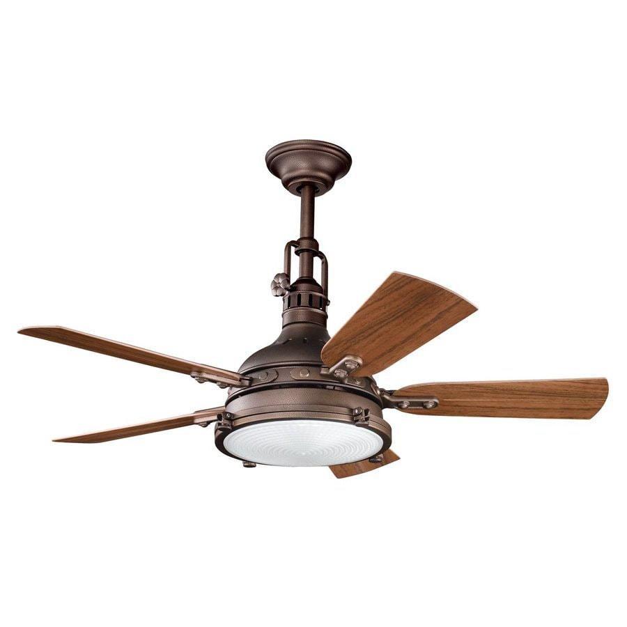 Shop kichler hatteras bay patio 44 in weathered copper indoor outdoor downrod or close mount - Industrial style ceiling fan with light ...