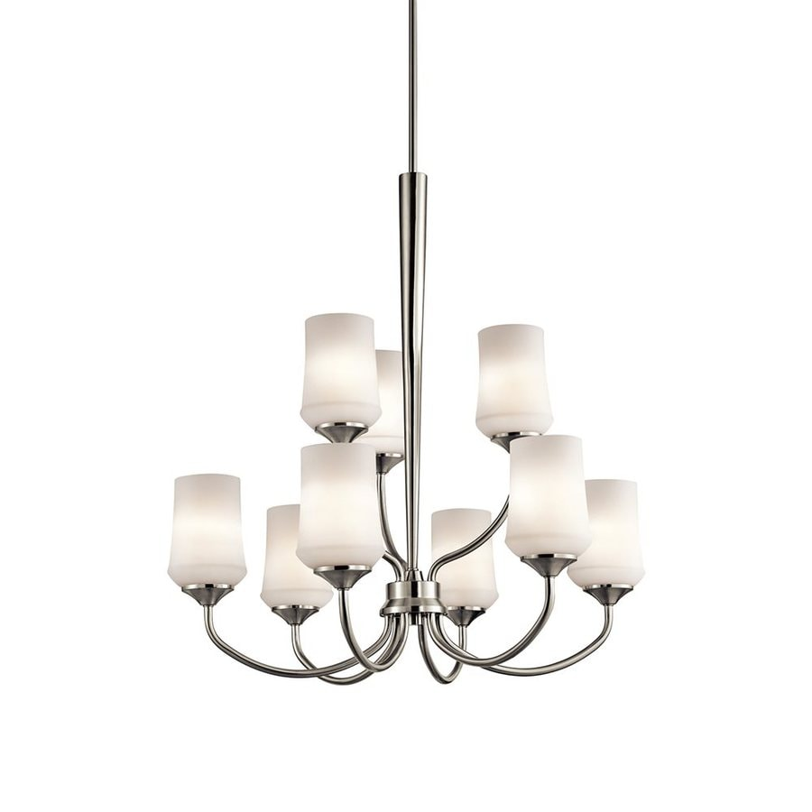Kichler Aubrey 28.75-in 9-Light Brushed nickel Etched Glass Tiered Chandelier