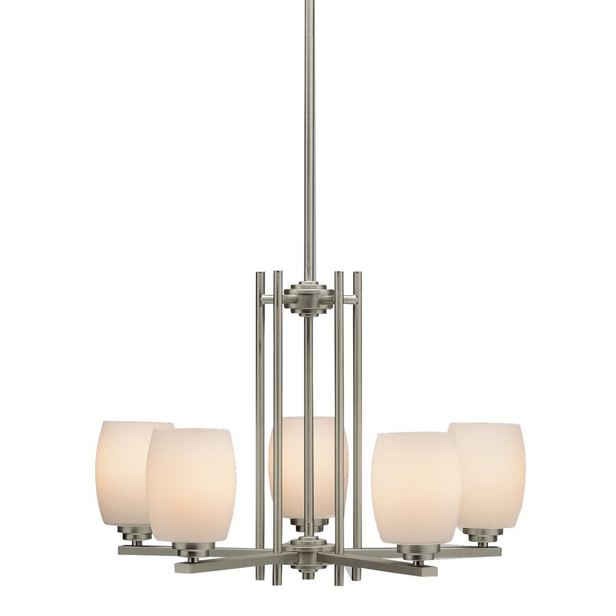 Kichler Eileen 24-in 5-Light Brushed Nickel Hardwired Etched Glass Shaded Chandelier