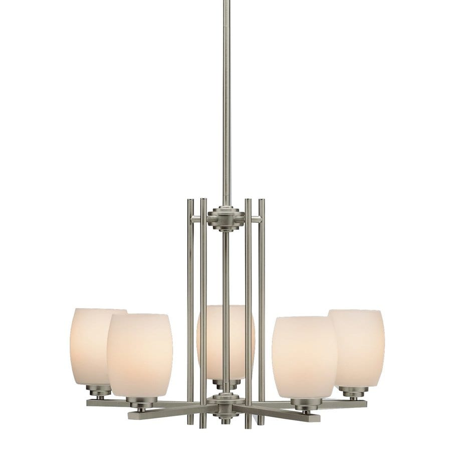 Kichler Eileen 24-in 5-Light Brushed nickel Etched Glass Shaded Chandelier