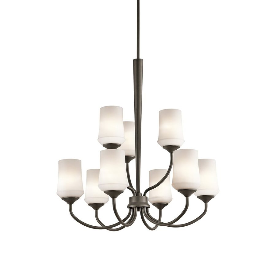 Kichler Lighting Aubrey 28.75-in 9-Light Olde Bronze Etched Glass Tiered Chandelier