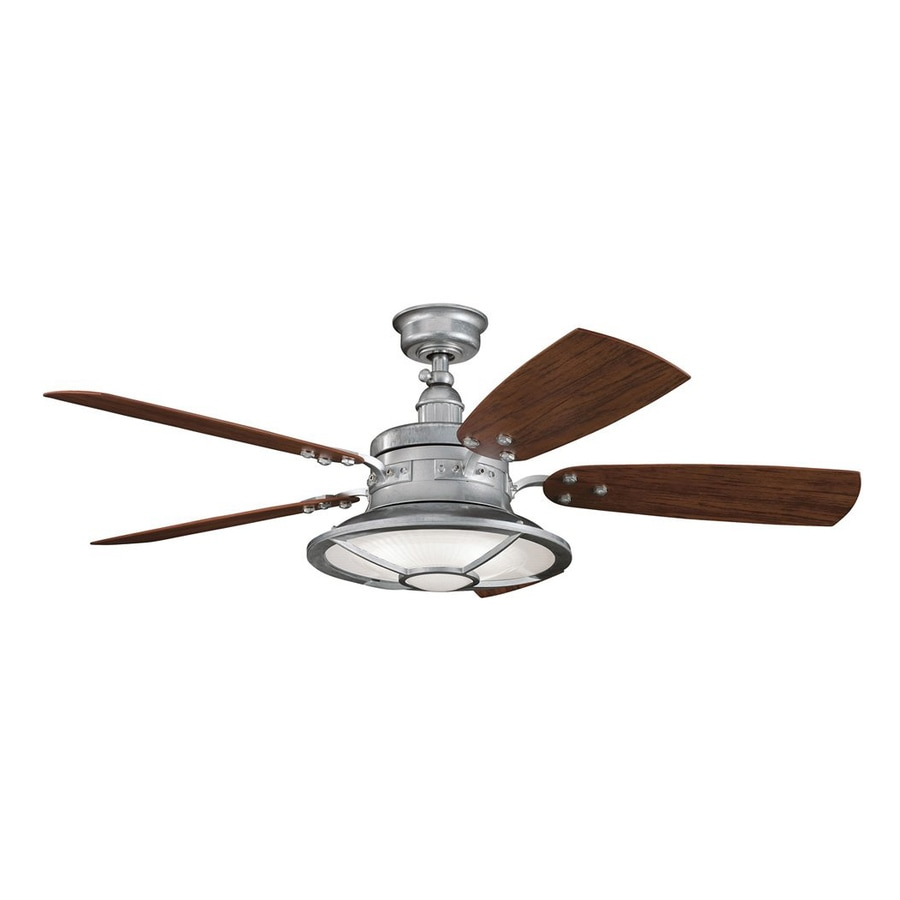 Kichler Harbour Walk Patio 52-in Galvanized Steel Indoor/Outdoor Downrod Mount Ceiling Fan with Light Kit and Remote