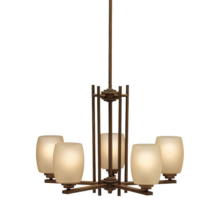 Kichler Eileen 24-in 5-Light Olde Bronze Craftsman Etched Glass Shaded Chandelier