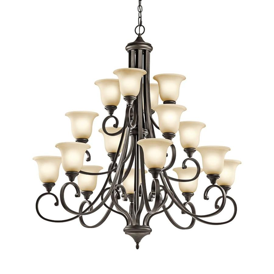 Kichler Monroe 45-in 16-Light Olde bronze Etched Glass Tiered Chandelier