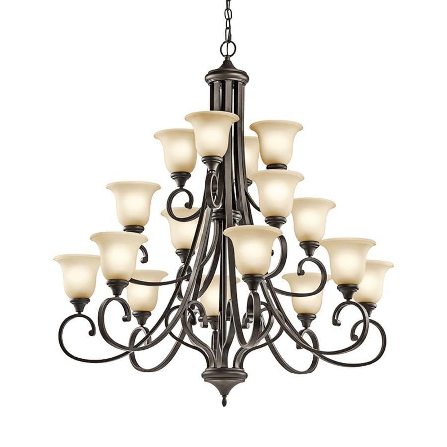 Kichler Lighting Monroe 45-in 16-Light Olde Bronze Etched Glass Tiered Chandelier
