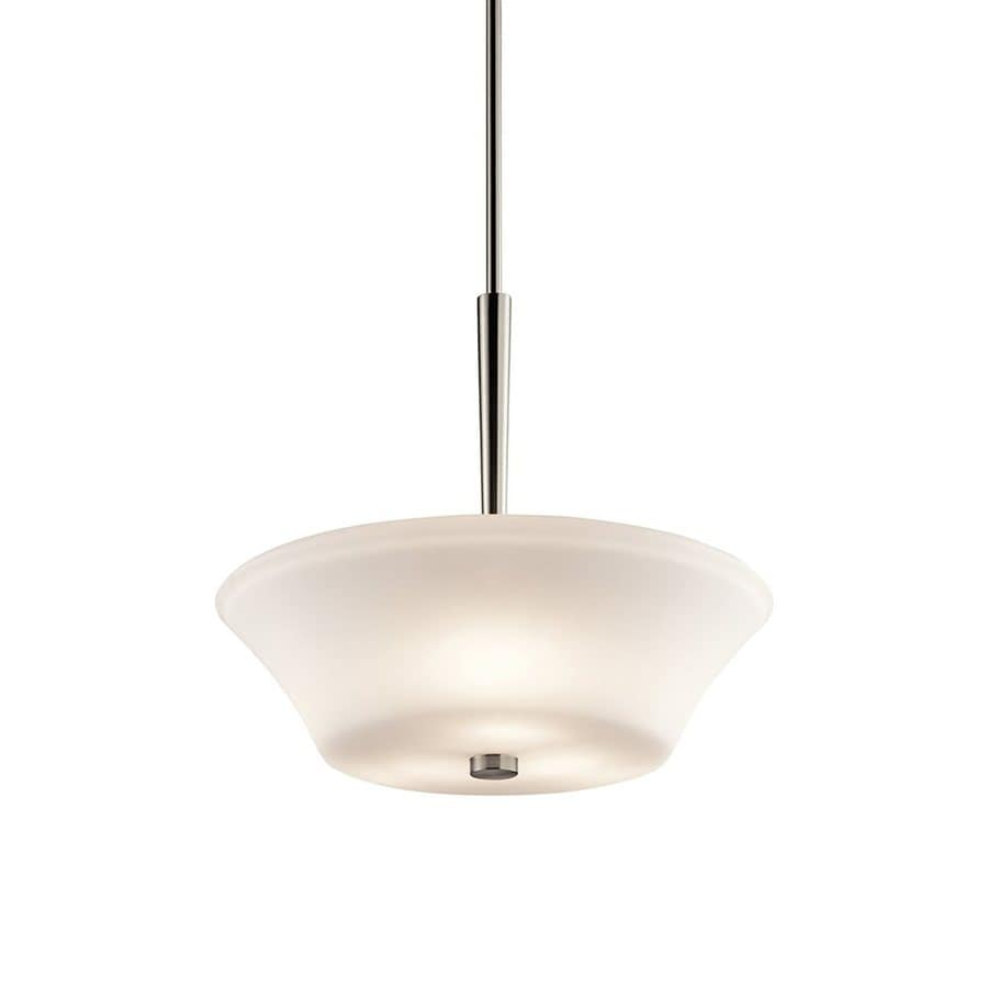 Kichler Aubrey 17.5-in Brushed Nickel Country Cottage Hardwired Single Etched Glass Bowl Pendant