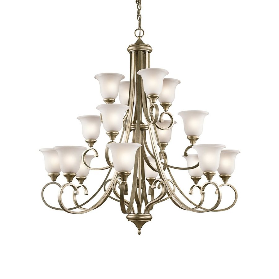 Kichler Monroe 45-in 16-Light Sterling Gold Etched Glass Tiered Chandelier