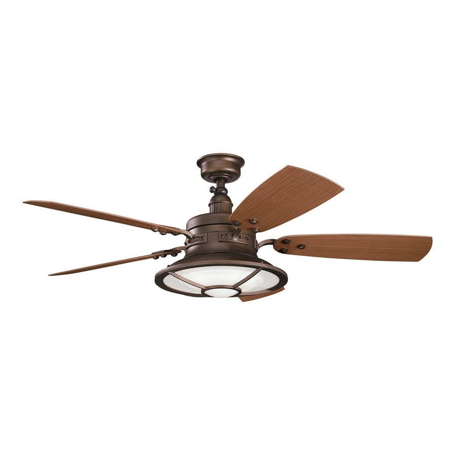 Kichler Harbour Walk Patio 52-in Weathered copper Indoor/Outdoor Downrod Mount Ceiling Fan with Light Kit and Remote