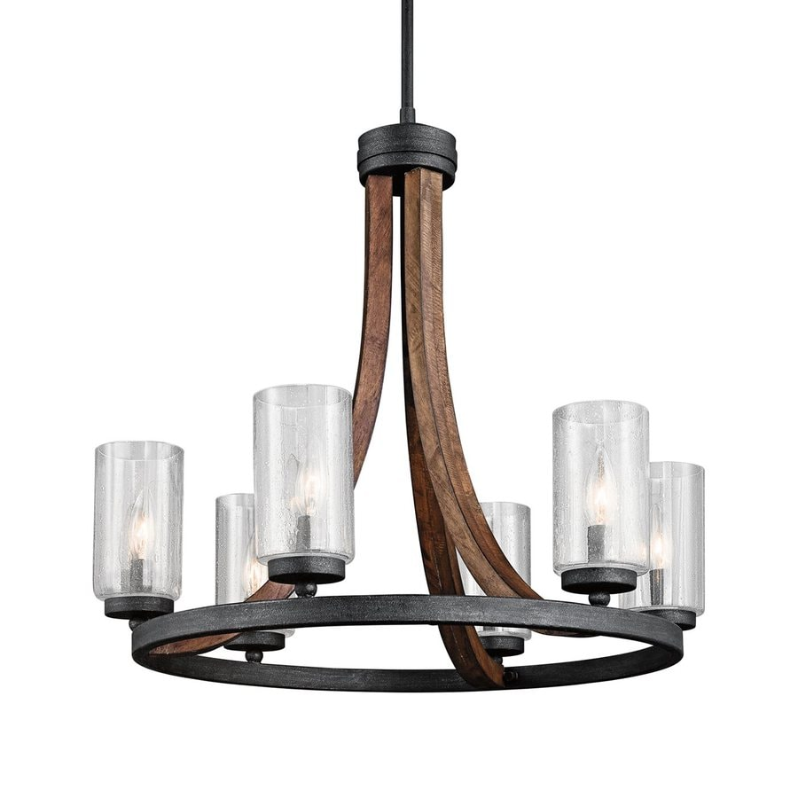 Kichler Lighting Grand Bank 25-in 6-Light Auburn Stained Wood with Distressed Black Rustic Seeded Glass Candle Chandelier