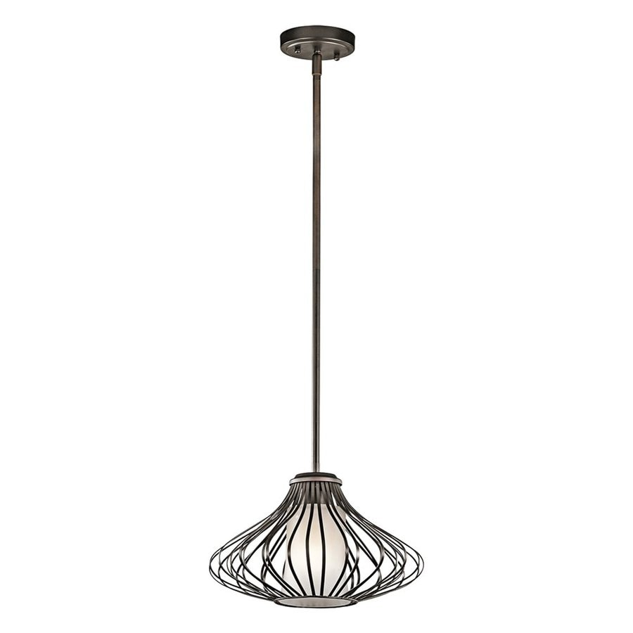 Kichler Lighting 13-in Olde Bronze Industrial Hardwired Single Etched Glass Cage Pendant