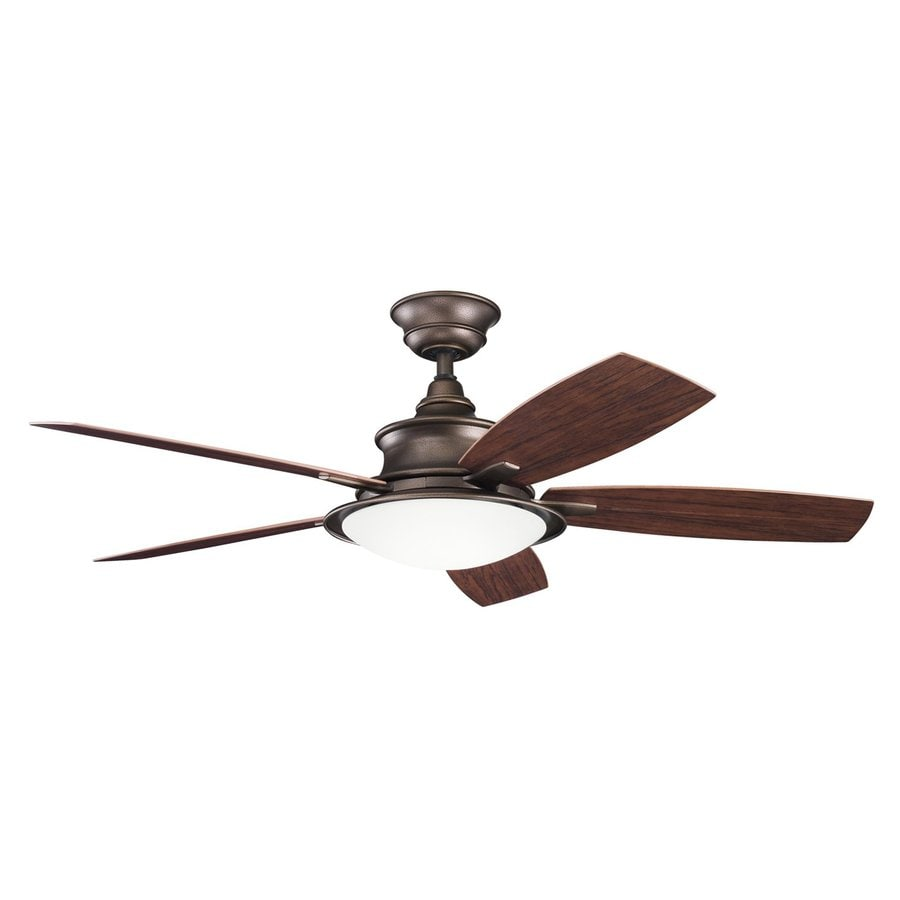 Kichler Cameron 52-in Weathered copper Indoor/Outdoor Downrod Mount Ceiling Fan with Light Kit and Remote