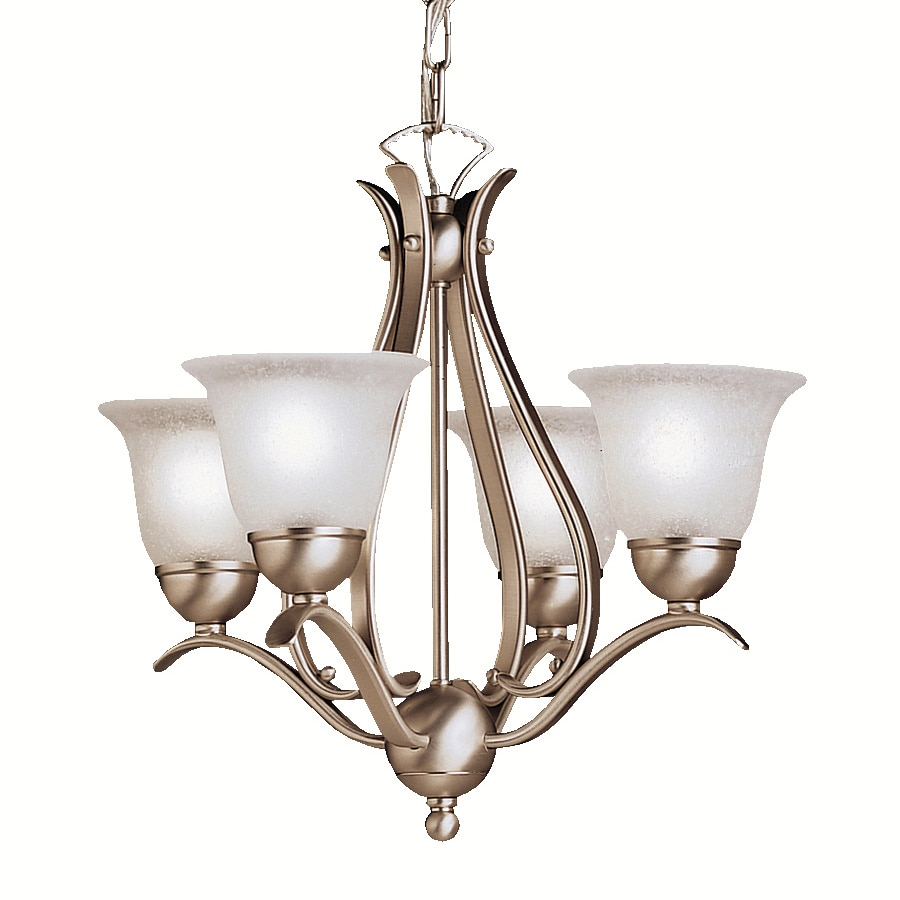 Kichler Lighting Dover 18-in 4-Light Brushed Nickel Etched Glass Shaded Chandelier