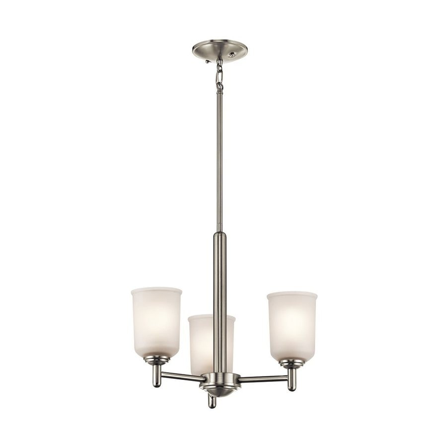 Kichler Shailene 17.5-in 3-Light Brushed Nickel Etched Glass Shaded Chandelier