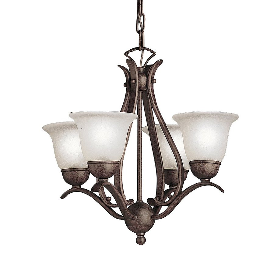 Kichler Lighting Dover 18-in 4-Light Tannery Bronze Etched Glass Shaded Chandelier
