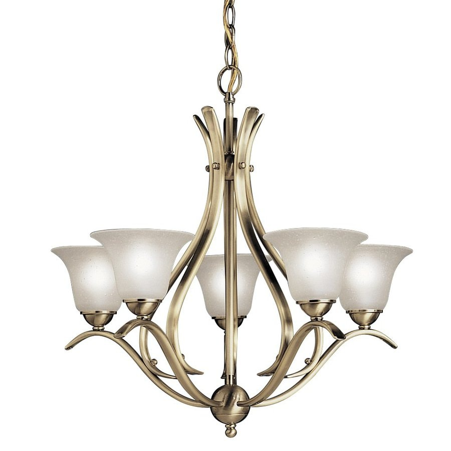 Kichler Dover 24-in 5-Light Antique Brass Etched Glass Shaded Chandelier