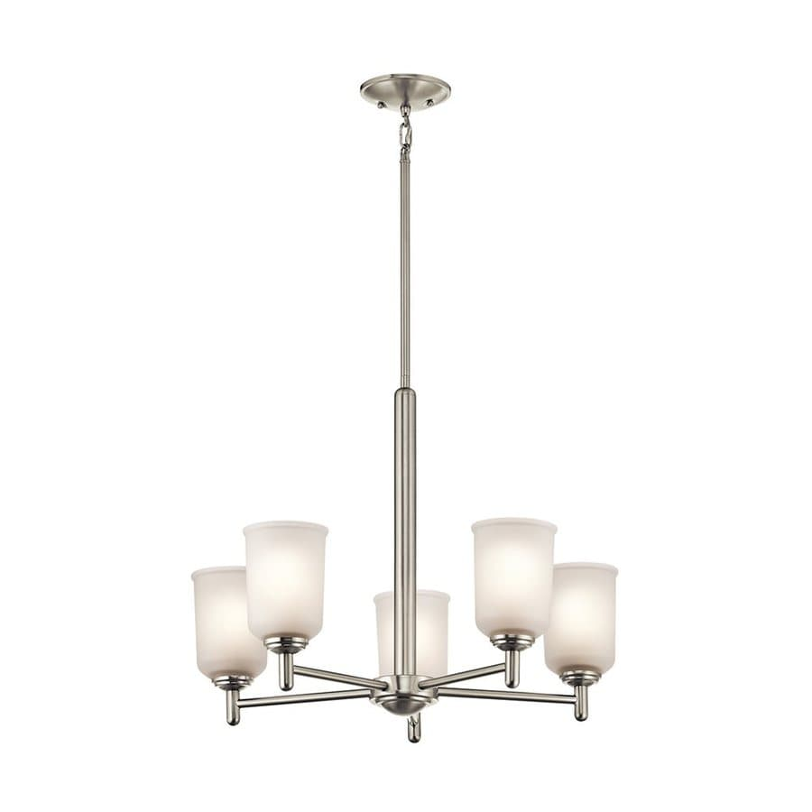 Kichler Shailene 23.5-in 5-Light Brushed Nickel Etched Glass Shaded Chandelier