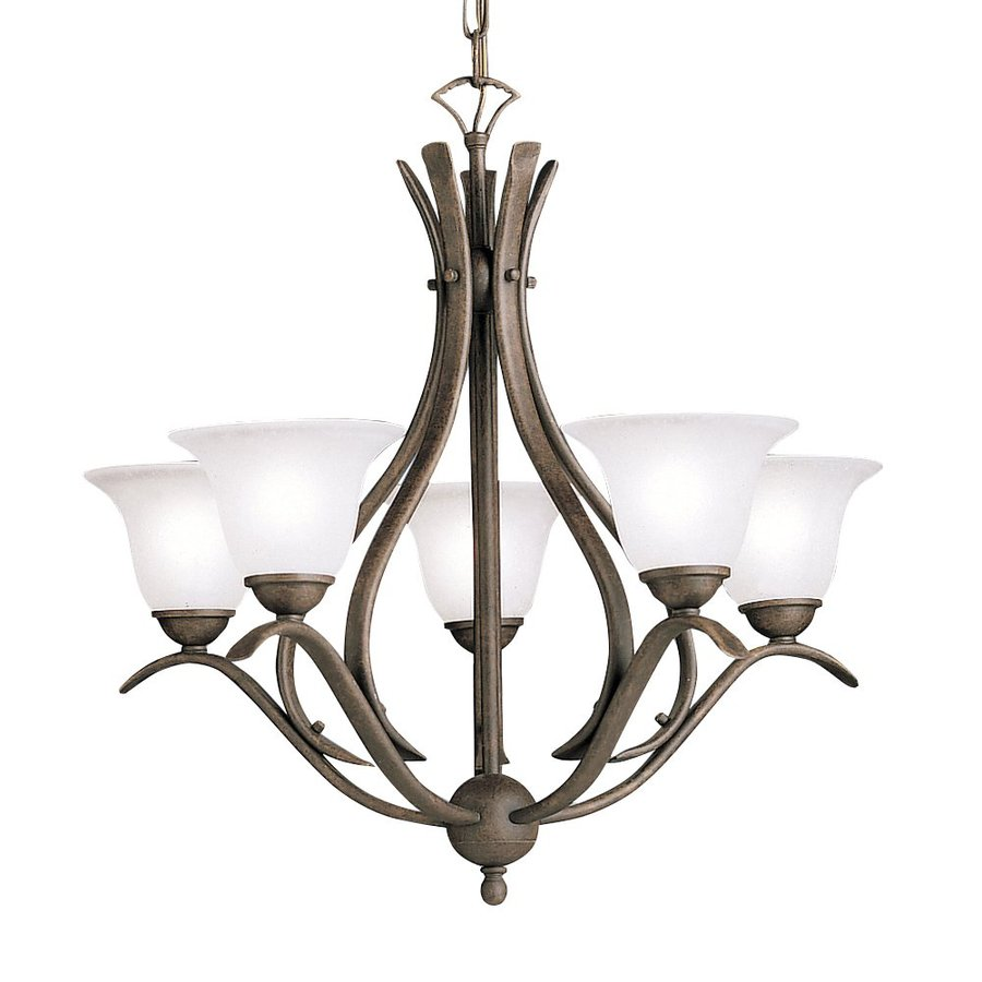 Kichler Dover 24-in 5-Light Tannery Bronze Etched Glass Shaded Chandelier