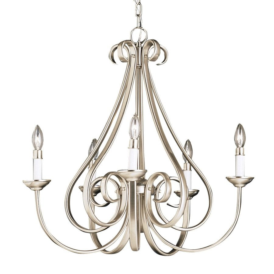 Kichler Dover 25.5-in 5-Light Brushed Nickel Vintage Candle Chandelier