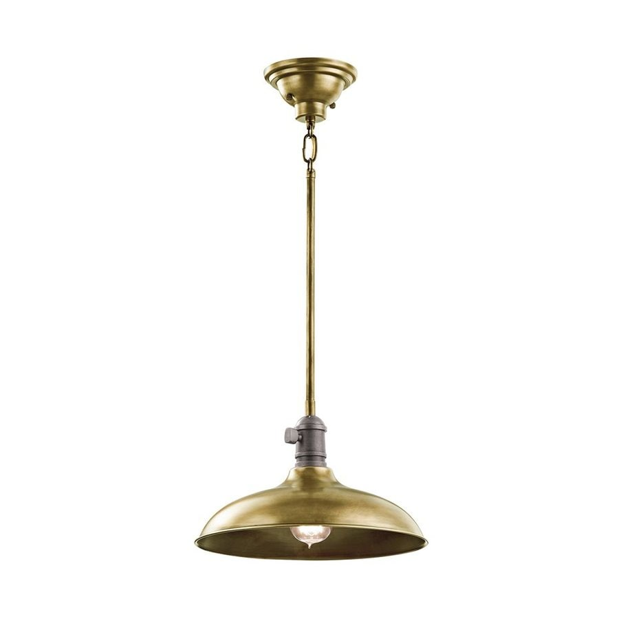 Kichler Cobson 12-in Natural Brass Industrial Single Warehouse Pendant