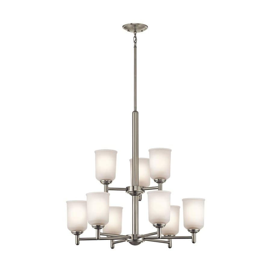 Kichler Lighting Shailene 26.25-in 9-Light Brushed Nickel Etched Glass Tiered Chandelier