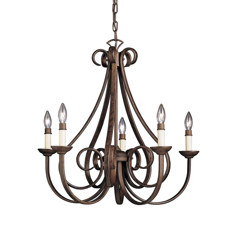Kichler Dover 25.5-in 5-Light Tannery Bronze Country Cottage Candle Chandelier