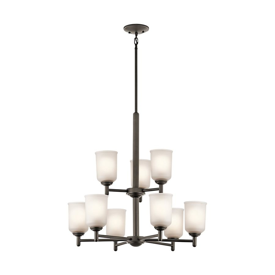 Kichler Shailene 26.25-in 9-Light Olde Bronze Etched Glass Tiered Chandelier